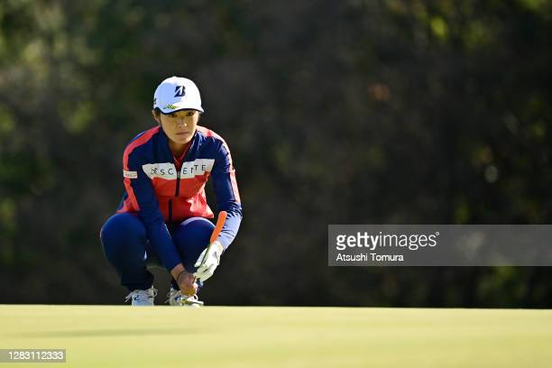 Ayaka Watanabe of Japan lines up a putt on the 6th green during the second round of the Hisako Higuchi Mitsubishi Electric Ladies Golf Tournament at...