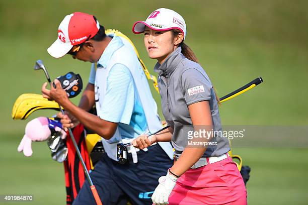 Ayaka Watanabe of Japan looks on during the first round of Stanley Ladies Golf Tournament at the Tomei Country Club on October 9 2015 in Susono Japan