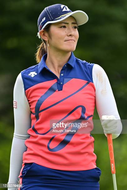 Ayaka Watanabe of Japan looks on during the first round of the Descente Ladies Tokai Classic at the Shin Minami Aichi Country Club Mihama Course on...