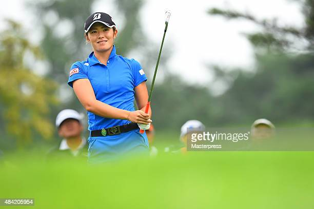 Ayaka Watanabe of Japan looks on during the third round of the NEC Karuizawa 72 Golf Tournament 2015 at the Karuizawa 72 Golf North Course on August...