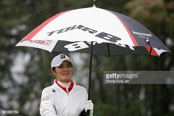 Ayaka Watanabe of Japan on the 5th hole during the second round of the 49th LPGA Championship Konica Minolta Cup 2016 at the Noboribetsu Country Club...