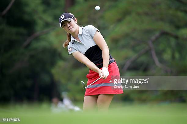 Ayaka Watanabe of Japan plays a shot on the fifth hole during the Nichirei Ladies at the Sodegaura Country Club Shinsode Course on June 19 2016 in...