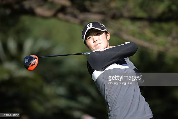 Ayaka Watanabe of Japan plays a tee shot on the 15th hole during the first round of the LPGA Tour Championship Ricoh Cup 2016 at the Miyazaki Country...