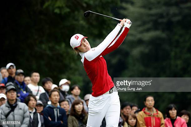 Ayaka Watanabe of Japan plays a tee shot on the 2nd hole during the first round of the Higuchi Hisako Ponta Ladies at the Musashigaoka Golf Course on...