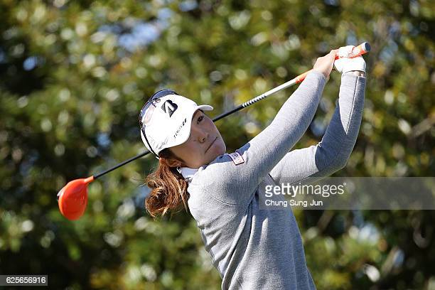 Ayaka Watanabe of Japan plays a tee shot on the 3rd hole during the second round of the LPGA Tour Championship Ricoh Cup 2016 at the Miyazaki Country...