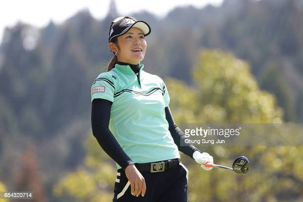 Ayaka Watanabe of Japan plays a tee shot on the fifth hole in the first round during the T-Point Ladies Golf Tournament at the Wakagi Golf Club on...