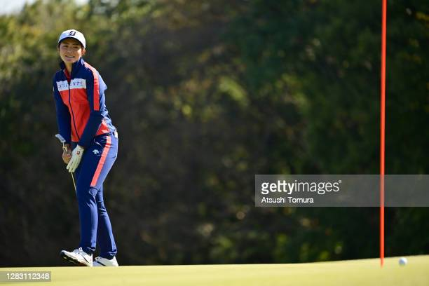 Ayaka Watanabe of Japan reacts after a putt on the 6th green during the second round of the Hisako Higuchi Mitsubishi Electric Ladies Golf Tournament...
