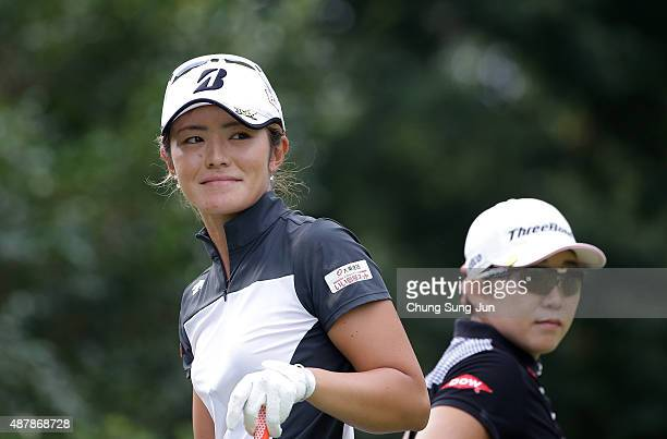 Ayaka Watanabe of Japan reacts after a tee shot on the third hole during the third round of the 48th LPGA Championship Konica Minolta Cup 2015 at the...