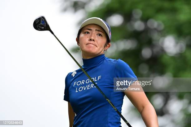 Ayaka Watanabe of Japan reacts after her tee shot on the 2nd hole during the first round of the GOLF5 Ladies Tournament at the GOLF5 Country Mizunami...