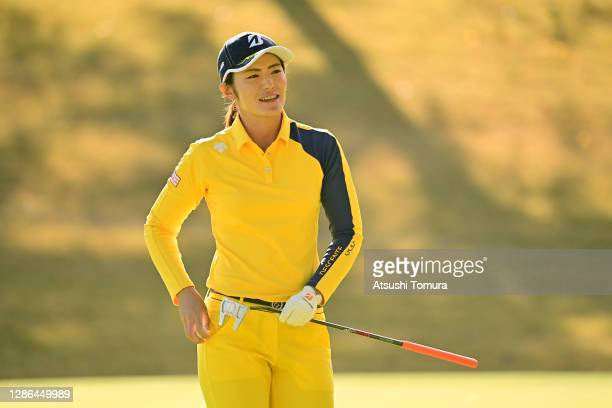 Ayaka Watanabe of Japan reacts after holing out on the 9th green during the first round of the Daio Paper Elleair Ladies Open at the Elleair Golf...