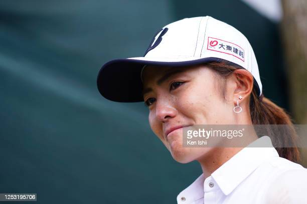 Ayaka Watanabe of Japan sheds tears with joy while being interviewed after winning the tournament during the final round of the Earth Mondamin Cup at...