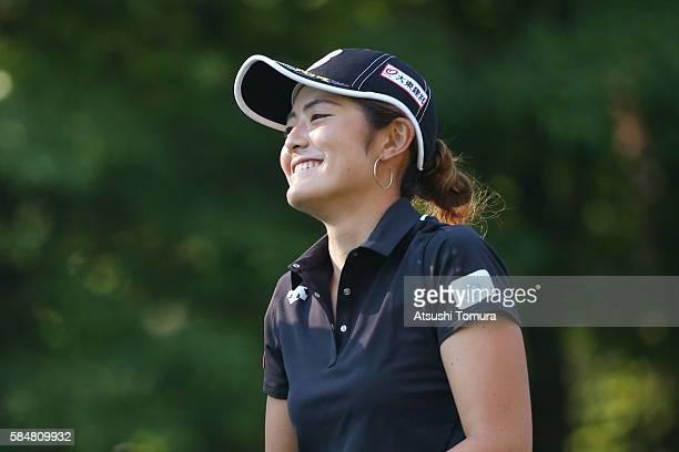 Ayaka Watanabe of Japan smiles during the final round of the Daito Kentaku Eheyanet Ladies 2016 at the Narusawa Golf Club on July 31 2016 in Narusawa...