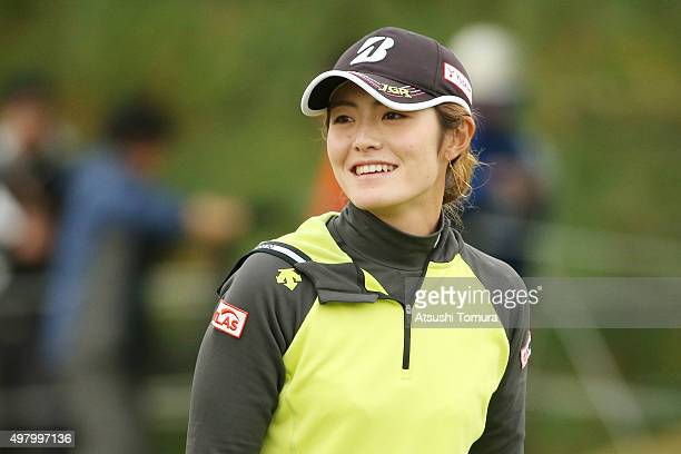 Ayaka Watanabe of Japan smiles during the second round of the Daio Paper Elleair Ladies Open 2015 at the Itsuurateien Country Club on November 20...