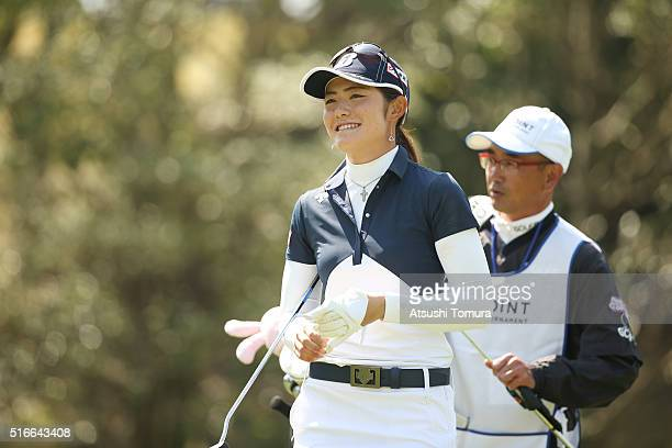 Ayaka Watanabe of Japan smiles during the T-Point Ladies Golf Tournament at the Wakagi Golf Club on March 20, 2016 in Takeo, Japan.