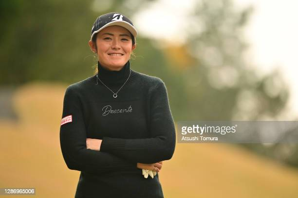 Ayaka Watanabe of Japan smiles on the 15th hole during the final round of the Daio Paper Elleair Ladies Open at the Elleair Golf Club Matsuyama on...
