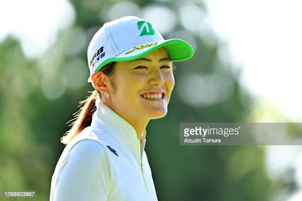 Ayaka Watanabe of Japan smiles on the 1st tee during a practice round ahead of the Nitori Ladies Golf Tournament at the Otaru Country Club on August...