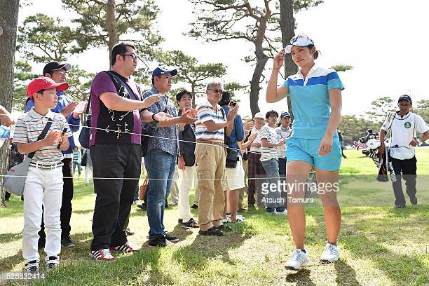 Ayaka Watanabe of Japan walks to the 10th tee during the third round of the World Ladies Championship Salonpas Cup at the Ibaraki Golf Club on May 7...