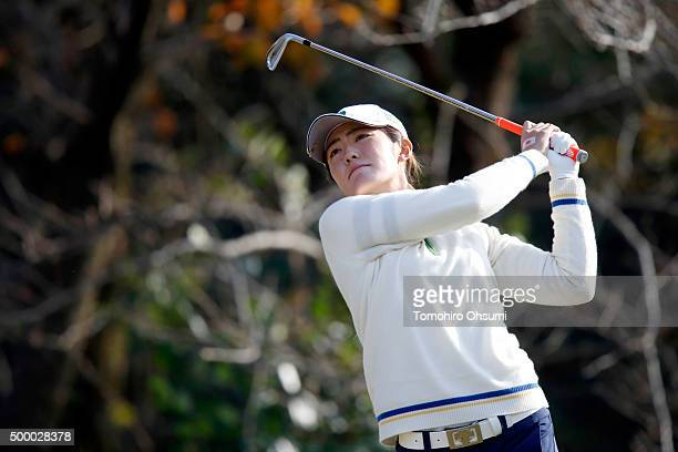 Ayaka Watanabe of the Ladies Professional Golf Association of Japan team plays a tee shot on the 16th hole during the second round of THE QUEENS...