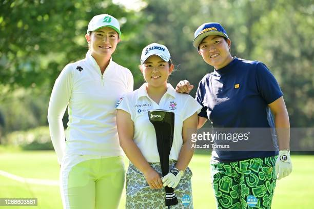 Ayaka Watanabe Saki Asai and Haruka Kudo of Japan pose on the 1st hole during a practice round ahead of the Nitori Ladies Golf Tournament at the...