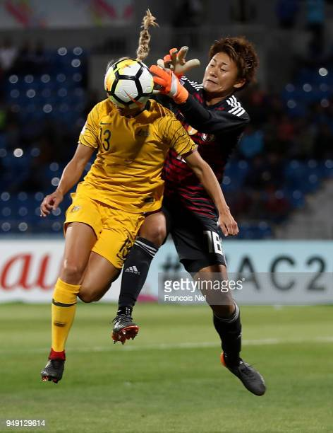 Ayaka Yamashita of Japan and Tameka Butt of Australia jump to the ball during the AFC Women's Asian Cup final between Japan and Australia at the...