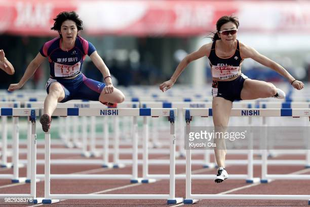 Ayako Kimura and Hitomi Shimura compete in the Women's 100m Hurdles final on day three of the 102nd JAAF Athletic Championships at Ishin MeLife...