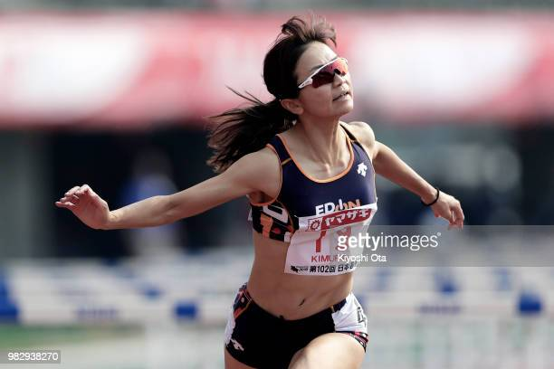 Ayako Kimura competes in the Women's 100m Hurdles final on day three of the 102nd JAAF Athletic Championships at Ishin MeLife Stadium on June 24 2018...
