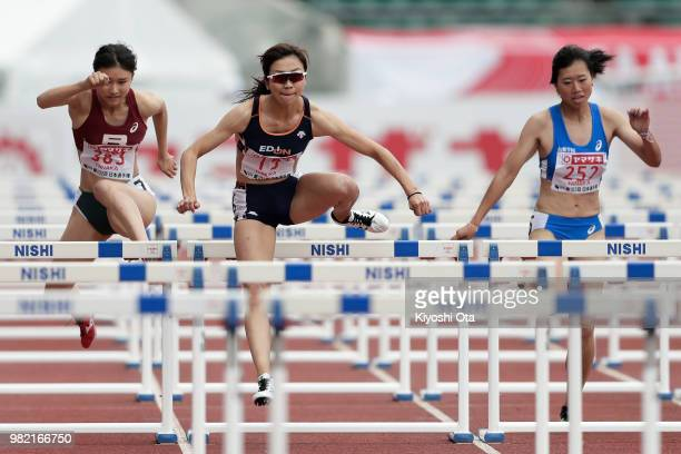 Ayako Kimura competes in the Women's 100m Hurdles heat on day two of the 102nd JAAF Athletic Championships at Ishin MeLife Stadium on June 23 2018 in...