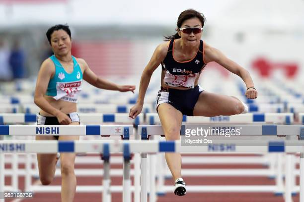 Ayako Kimura competes in the Women's 100m Hurdles semifinal on day two of the 102nd JAAF Athletic Championships at Ishin MeLife Stadium on June 23...