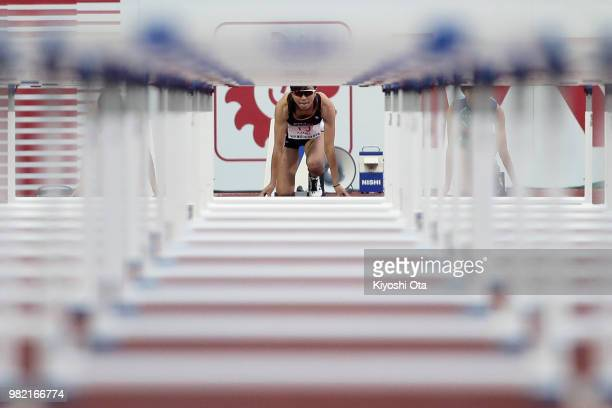 Ayako Kimura is seen at the start line prior to the Women's 100m Hurdles semifinal on day two of the 102nd JAAF Athletic Championships at Ishin...