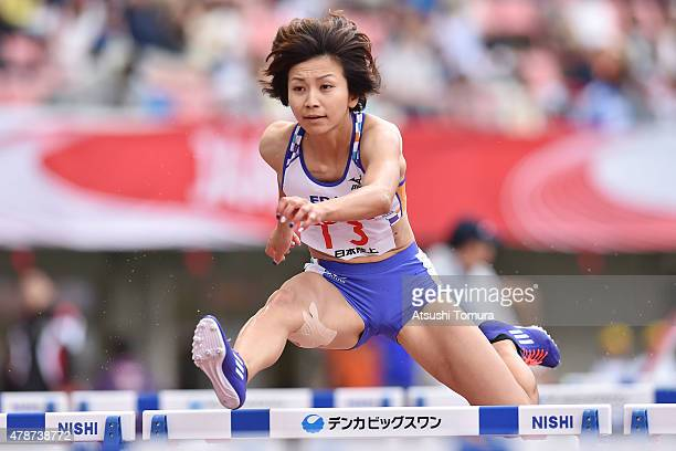 Ayako Kimura of Japan competes in the womens 100 meter Hurdles final during the 99th Japan Athletics National Championships at Denka Big Swan Stadium...