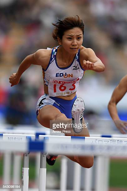 Ayako Kimura of Japan competes in Women's 100m Hurdle First Round during the 100th Japan National Athletic Championships at the Mizuho Athletic...