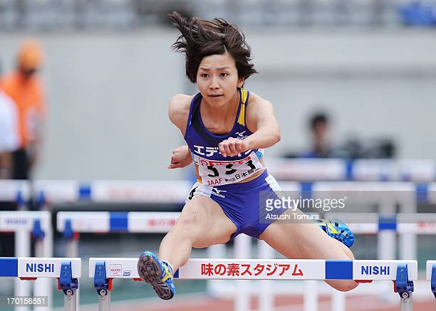 Ayako Kimura of Japan in action during the Women's 100mH on day two of the 97th Japan Track and Field Championships at Ajinomoto Stadium on June 8...