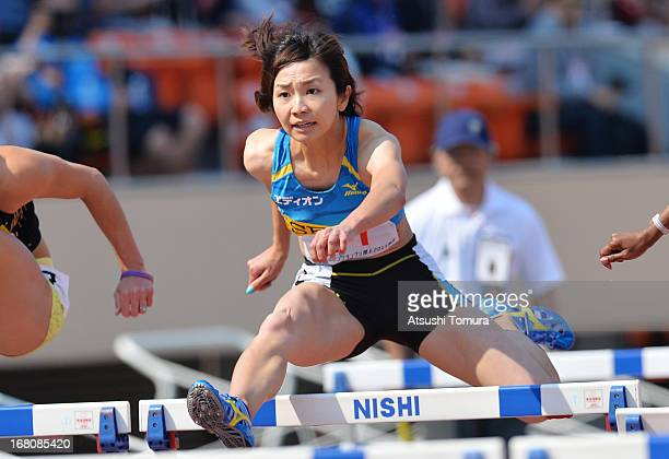 Ayako Kimura of Japan in the Women's 100m hurdles during the Seiko Golden Grand Prix at the National Stadium on May 5 2013 in Tokyo Japan