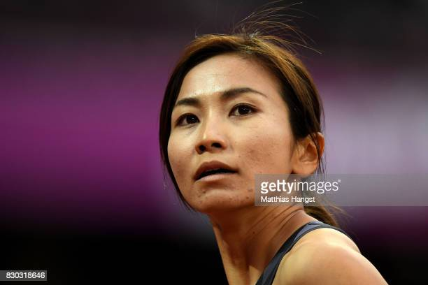 Ayako Kimura of Japan looks on after competing in the Women's 100 metres hurdles semi finals during day eight of the 16th IAAF World Athletics...