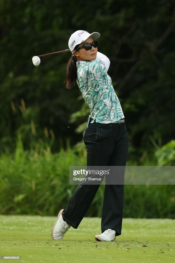 Ayako Uehara of Japan hits her tee shot on the 17th hole during the first round of the 2018 KPMG PGA Championship at Kemper Lakes Golf Club on June 28, 2018 in Kiledeer, Illinois.
