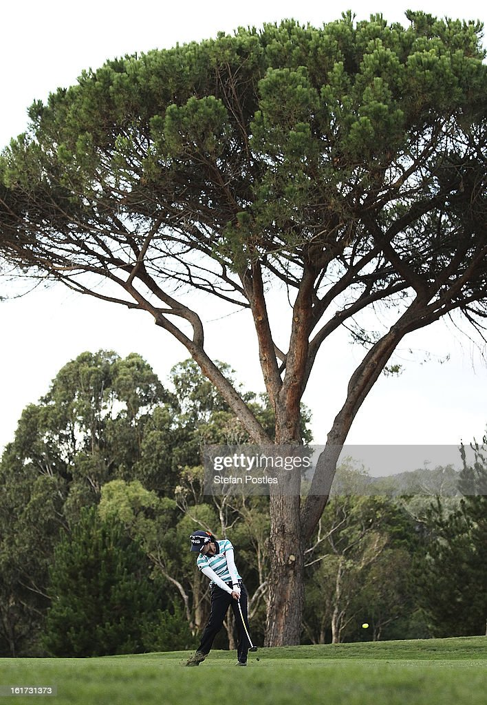 Ayako Uehara of Japan hits up the 9th fairway during day two of the ISPS Handa Australian Open at Royal Canberra Golf Club on February 15, 2013 in Canberra, Australia.