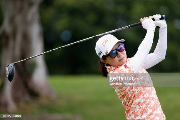 Ayako Uehara of Japan plays a tee shot on the ninth hole during the second round of the LPGA LOTTE Championship at Kapolei Golf Club on April 15,...
