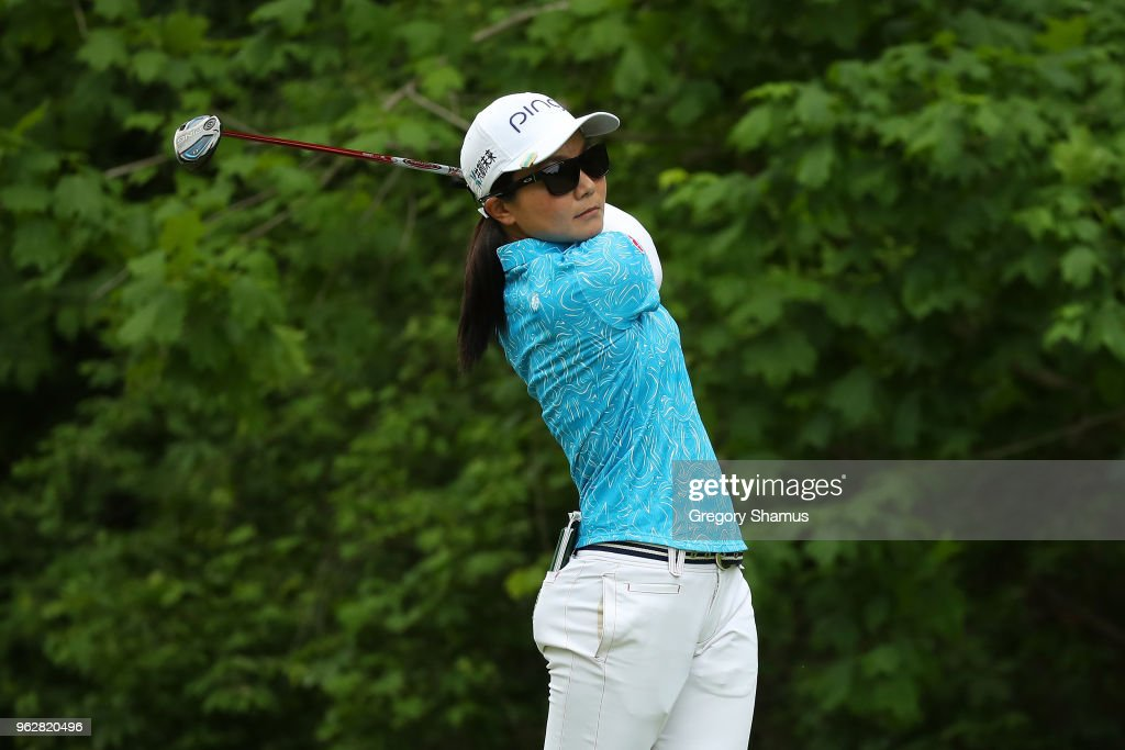 Ayako Uehara of Japan watches her tee shot on the seventh hole during the third round of the LPGA Volvik Championship on May 26, 2018 at Travis Pointe Country Club Ann Arbor, Michigan.