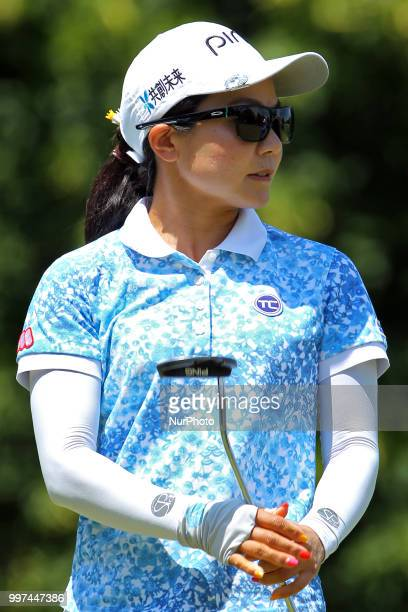Ayako Uehara of Naha Japan follows her putt on the first green during the first round of the Marathon LPGA Classic golf tournament at Highland...
