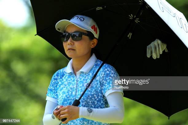 Ayako Uehara of Naha Japan walks down the 6th fairway during the first round of the Marathon LPGA Classic golf tournament at Highland Meadows Golf...