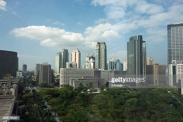ayala triangle in makati city, manila - makati stock photos and pictures