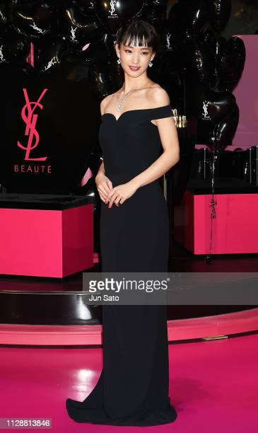Ayame Goriki attends the Yves Saint Laurent Beaute 'Volupte Land' opening event at Omotesando Hills on March 6 2019 in Tokyo Japan