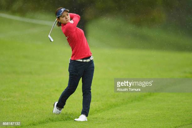 Ayame Morii of Japan hits her second shot on the 9th hole during the first round of Stanley Ladies Golf Tournament at the Tomei Country Club on...