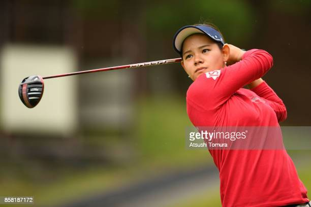 Ayame Morii of Japan hits her tee shot on the 2nd hole during the first round of Stanley Ladies Golf Tournament at the Tomei Country Club on October...