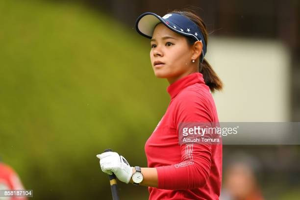 Ayame Morii of Japan looks on during the first round of Stanley Ladies Golf Tournament at the Tomei Country Club on October 6, 2017 in Susono,...