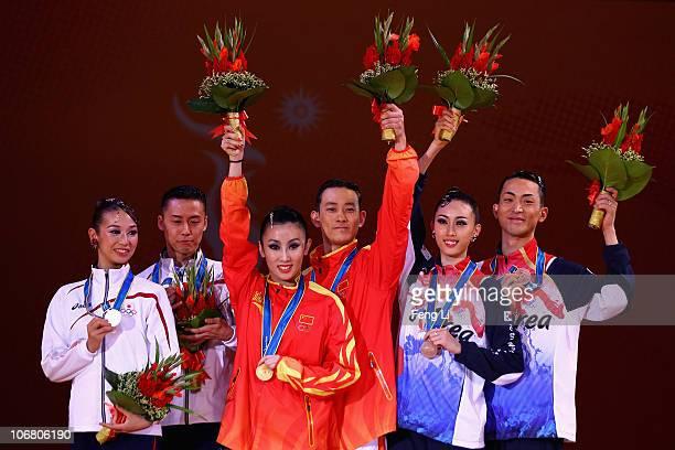 Ayami Kubo Masayuki Ishihara of Japan Liang Yujie and Shen Hong of China Jo Sang Hyo and Lee Se Hee of South Korea attend the award ceremony of the...