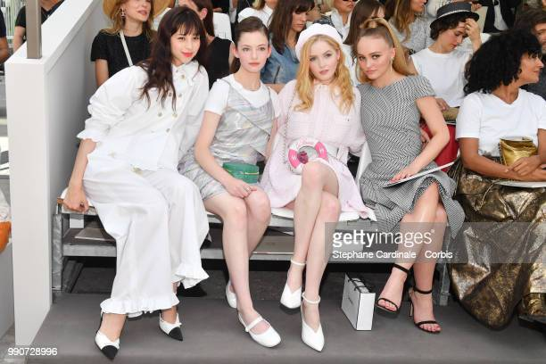 Ayami Nakajo Mackenzie Foy Ellie Bamber and LilyRose Depp attend the Chanel Haute Couture Fall/Winter 20182019 show as part of Haute Couture Paris...