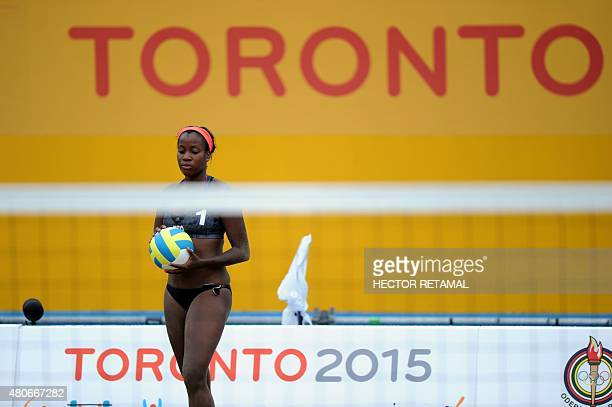 Ayana Dyette of Trinidad and Tobago during the Women's Beach Voleyball Preliminary against Argentina at the 2015 Pan American Games in Toronto Canada...