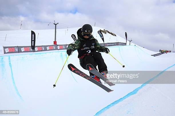 Ayana Onozuka of Japan practices ahead of the FIS Freestyle Ski World Cup Halfpipe Finals during the Winter Games NZ at Cardrona Alpine Resort on...