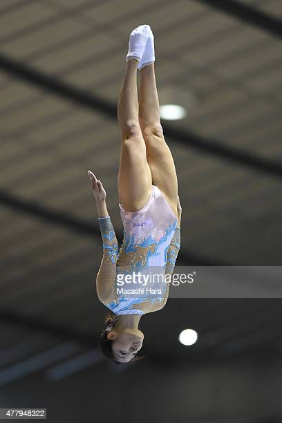 Ayana Yamada in action on day two of the Trampoline Japan National Team Trial for The Trampoline World Championships 2015 at Yoyogi National...